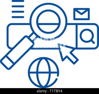 Searching line icon concept. Searching flat  vector symbol, sign, outline illustration. - Stock Photo