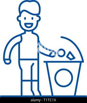Separate trash line icon concept. Separate trash flat  vector symbol, sign, outline illustration. - Stock Photo