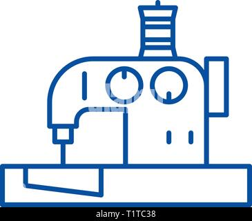 Sewing machine line icon concept. Sewing machine flat  vector symbol, sign, outline illustration. - Stock Photo