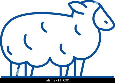 Sheep line icon concept. Sheep flat  vector symbol, sign, outline illustration. - Stock Photo