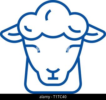 Sheep farm line icon concept. Sheep farm flat  vector symbol, sign, outline illustration. - Stock Photo
