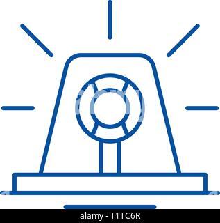 Signal light line icon concept. Signal light flat  vector symbol, sign, outline illustration. - Stock Photo