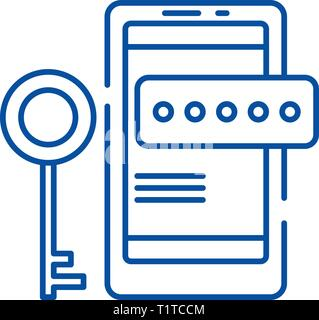 Smartphone security line icon concept. Smartphone security flat  vector symbol, sign, outline illustration. - Stock Photo