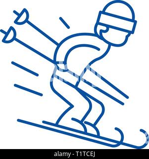 Snow skiing line icon concept. Snow skiing flat  vector symbol, sign, outline illustration. - Stock Photo