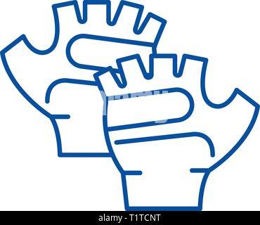 Sport gloves line icon concept. Sport gloves flat  vector symbol, sign, outline illustration. - Stock Photo