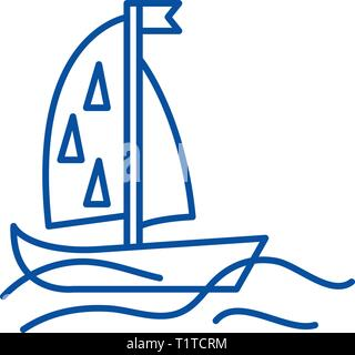Sports yacht line icon concept. Sports yacht flat  vector symbol, sign, outline illustration. - Stock Photo