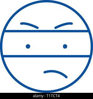 Spy emoji line icon concept. Spy emoji flat  vector symbol, sign, outline illustration. - Stock Photo