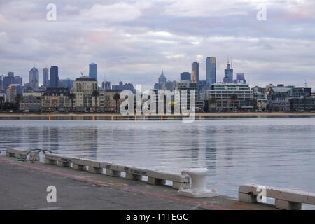 Melbourne city skyline as view from Station Pier in Melbourne Victoria Australia. - Stock Photo