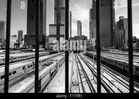 Hudson Yards from The Highline track walkway - Stock Photo