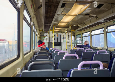 Interior of out of date Pacer bus train from Heysham Port to Lancaster - Stock Photo