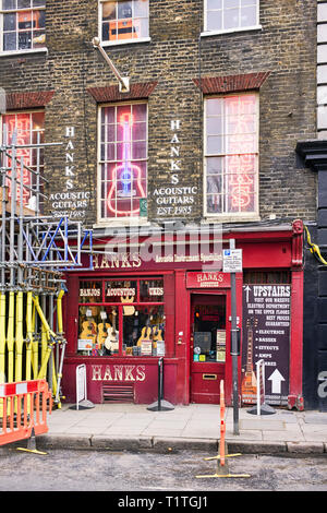 Hanks famous guitar shop in tin pan alley, Denmark Street, London - Stock Photo