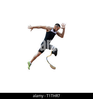athlete runner disabled amputee explosive start to running isolated - Stock Photo