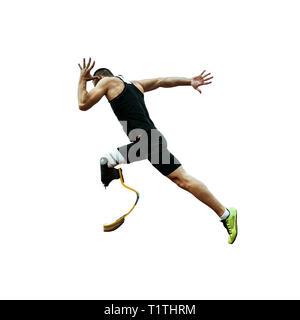 start runner disabled amputee start to run on white background - Stock Photo