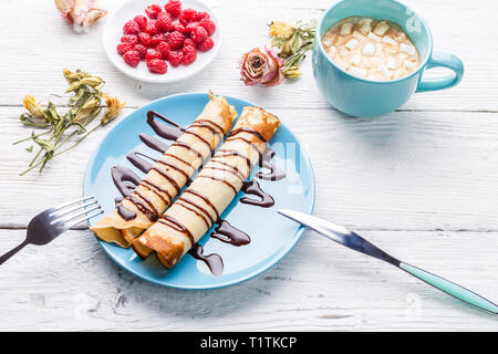 Pancakes topped on wooden table, - Stock Photo