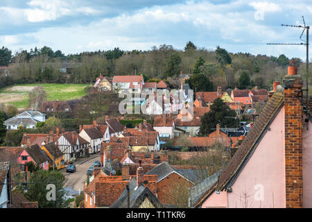 Elevated views across Kersey village and the countryside from the hill at St Mary's Church. Suffolk, East Anglia, England, UK. - Stock Photo