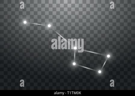 Big Dipper Zodiac Sign of the Beautiful Bright Stars on a transparent background. Vector Illustration - Stock Photo