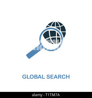 Global Search creative icon. Simple illustration. Global Search icon from human resources collection. Two colors element for web, apps, software, prin - Stock Photo