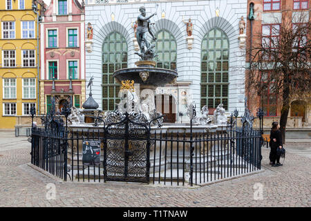 Neptune's Fountian Staue, Gdansk Poland - Stock Photo