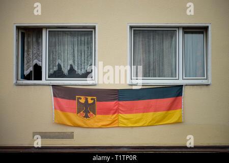 Deutschland-Fahne, Nippes, Koeln, Nordrhein-Westfalen, Deutschland - Stock Photo
