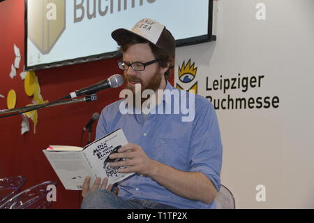 Leipzig Germany, march 23, 2019: JAN BRATENSTEIN at the Book  Fair - Stock Photo