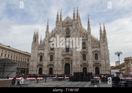 Italy, Milan - December 30 2017: the view of facade of the Metropolitan Cathedral-Basilica of the Nativity of Saint Mary on December 30 2017. - Stock Photo