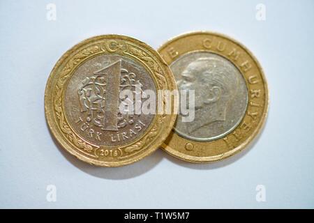 Turkish Lira coins - Stock Photo