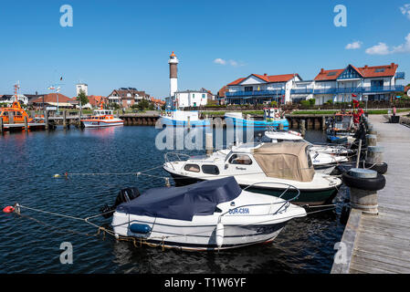 harbour, lighthouse, Timmendorf, Poel island, Mecklenburg-Western Pomerania, Germany - Stock Photo