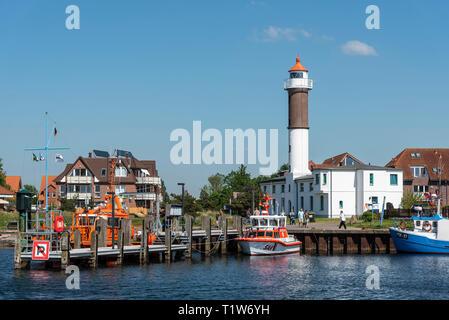 harbour, lighthouse, Timmendorf, Poel island, Mecklenburg-Western Pomerania, Germany - Stock Photo