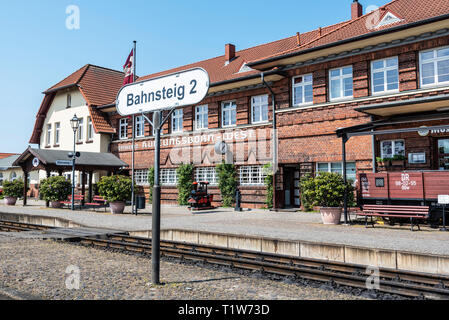 steam railway, Molli, narrow-gauge railway, train station, Kuehlungsborn-West, Mecklenburg-Western Pomerania, Germany - Stock Photo