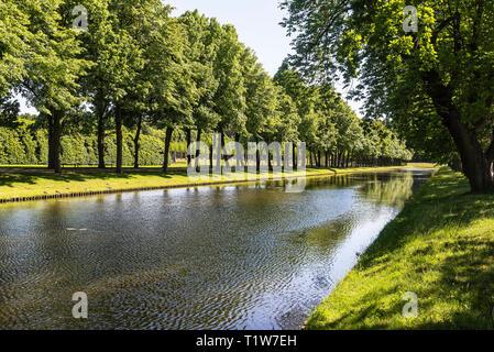 tree alley, canal, castle park, Schwerin, Mecklenburg-Western Pomerania, Germany - Stock Photo