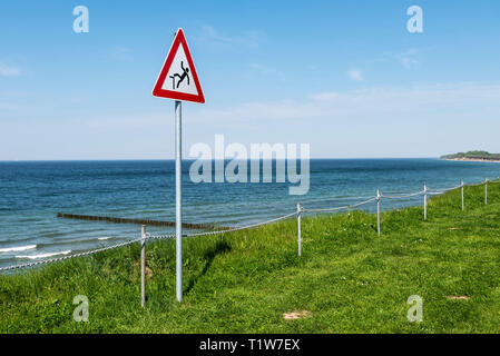 danger of falling, danger, sign, warning, coast, Nienhagen, Baltic Sea, Mecklenburg-Western Pomerania, Germany - Stock Photo