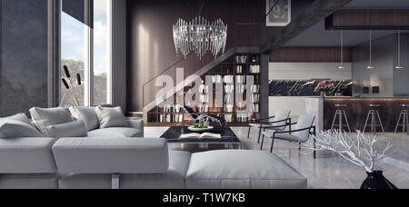 Modern interior design of apartment with living room and kitchen 3D Rendering - Stock Photo