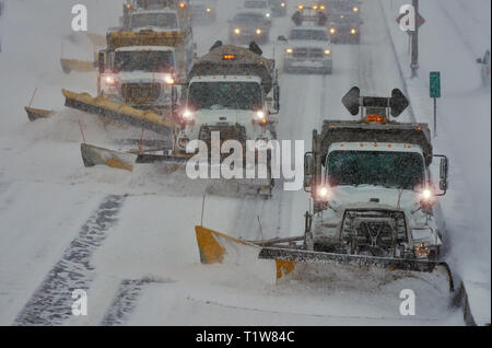 Montreal, Canada,January 20, 2019.Winter snowstorm in the city of Montreal,Quebec,Canada.Credit:Mario Beauregard/Alamy Live News - Stock Photo