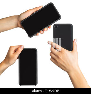 Set of women's hands showing black smartphone - Stock Photo