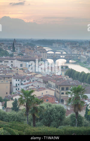Elevated view over Florence towards the ponte Vecchio across the river Arno from the Piazzale Michelangelo viewpoint. - Stock Photo