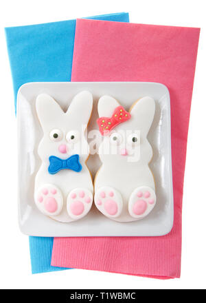 Easter bunny cookies, boy and girl with bow and bow tie on a small square plate sitting on pink and blue napkins isolated on white background. Home ma - Stock Photo
