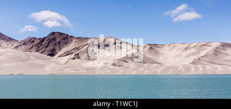 Panorama of sand dunes at Bulunkou River II ( Karakorum Highway, Xinjiang, China) - Stock Photo