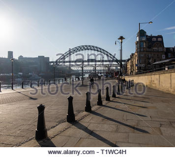 Newcastle, England. November 15. 2018. View of the Tyne Bridge from the Quayside on a Sunny Day. - Stock Photo