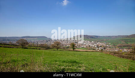 View looking from Trow Hill over to Sidmouth and Sidford, Devon, UK - Stock Photo