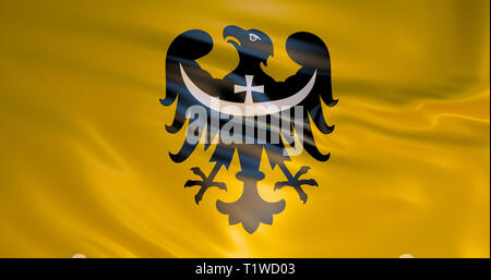 Lower Silesian Voivodeship Flag. High quality 3d detailed illustration. Realistic background. Wroclaw - Stock Photo