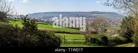 View looking over Sidmouth from Soldiers Hill to Peak Hill, Mutters Moor and Bulverton Hill - Stock Photo