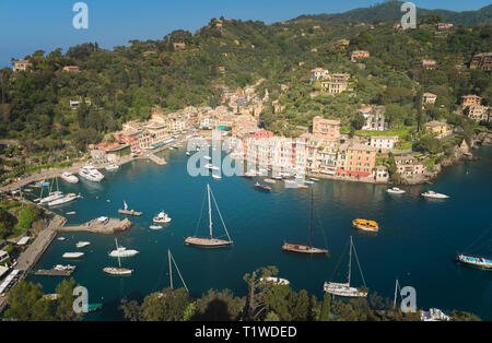 Portofino village on Ligurian coast in Italy - Stock Photo