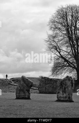 Avebury stone circles and the Avenue standing stones - Stock Photo