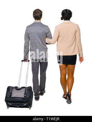 Back view of interracial going couple with suitcase. Rear view people collection. backside view of person. Isolated over white background. Husband and - Stock Photo