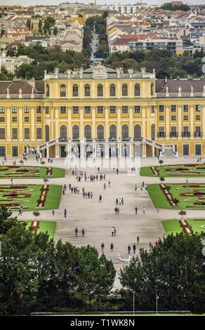 Vienna, Austria, September , 15, 2019 - Schonbrunn Palace , a former imperial summer residence of Habsburg monarchs - Stock Photo