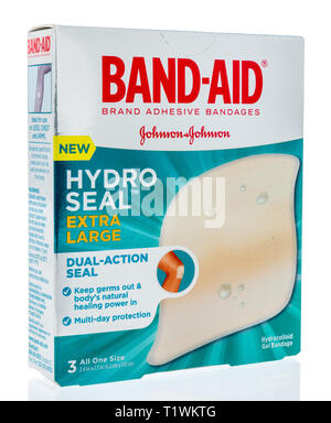 Winneconne, WI - 26 March 2019: A package of  Band-aid brand adhesive bandages hydro seal on an isolated background - Stock Photo