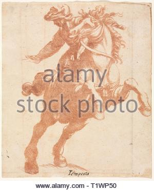 Rearing Horse and Rider, c. 1600. Attributed to Antonio Tempesta (Italian, 1555-1630). Red chalk counterproof; sheet: 19.5 x 16.7 cm (7 11/16 x 6 9/16 in.). - Stock Photo