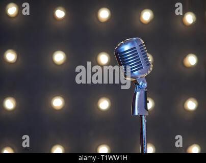 steel retro microphone - Stock Photo