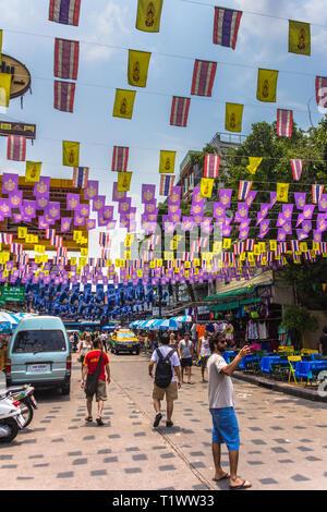 Songkran Thai New Year in Bangkok Khao San Road - Stock Photo