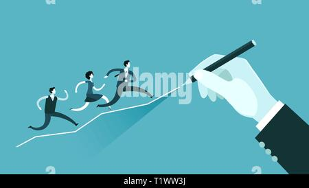 Business concept. Hand drawing a growing graph. Vector illustration - Stock Photo